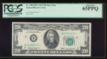Fr. 2065-B 1963 $20  Federal Reserve Note New York star PCGS 65PPQ B00366471*
