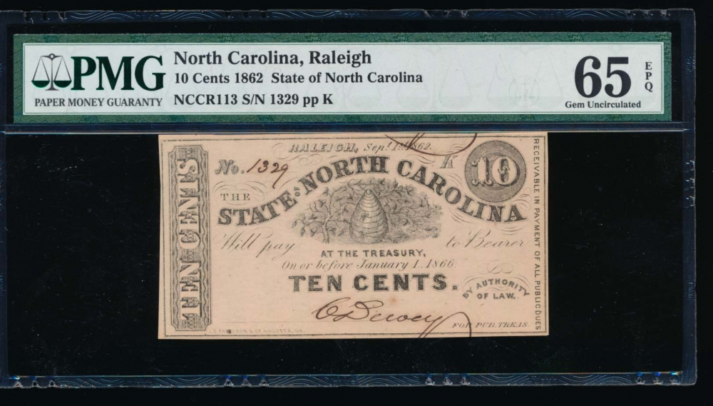 Fr. Cr NC-113 1862 $0.10  Obsolete State of North Carolina, Raleigh PMG 65EPQ 1329K