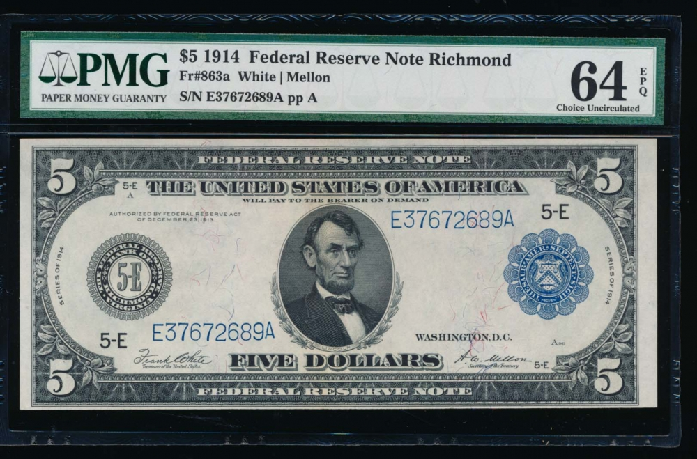 Fr. 863a 1914 $5  Federal Reserve Note Richmond PMG 64EPQ E37672689A