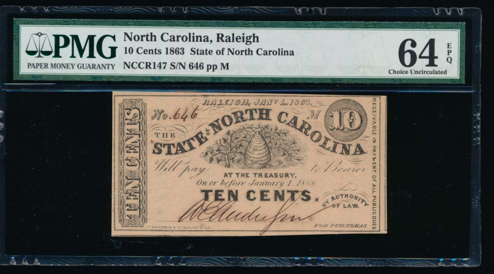 Fr. Cr NC-147 1863 $0.10  Obsolete RADAR State of North Carolina, Raleigh PMG 64EPQ 646