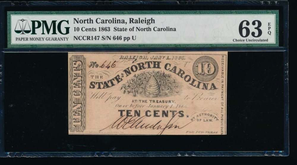 Fr. Cr NC-147 1863 $0.10  Obsolete RADAR State of North Carolina, Raleigh PMG 63EPQ 646U