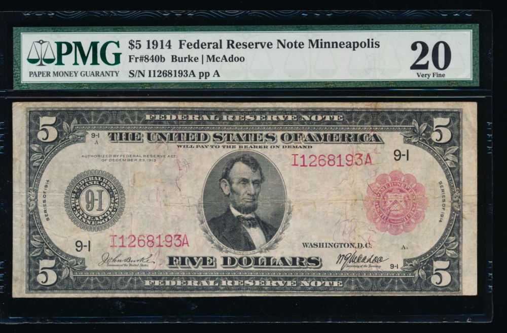 Fr. 840b 1914 $5  Federal Reserve Note red seal Minneapolis PMG 20 I1268193A
