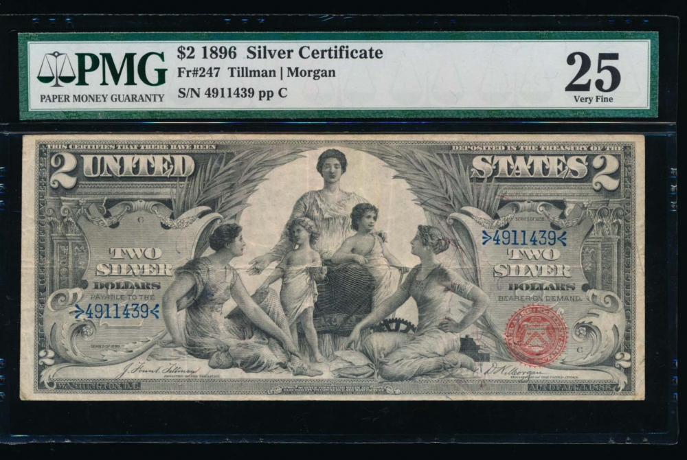 Fr. 247 1896 $2  Silver Certificate  PMG 25 4911439