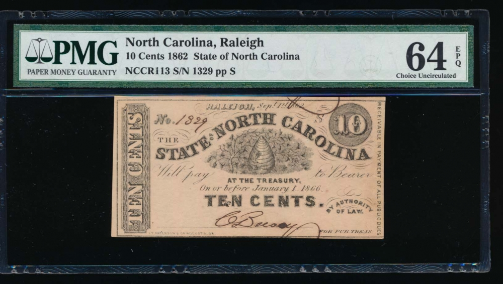 Fr. Cr NC-113 1862 $0.10  Obsolete State of North Carolina, Raleigh PMG 64EPQ 1329 S