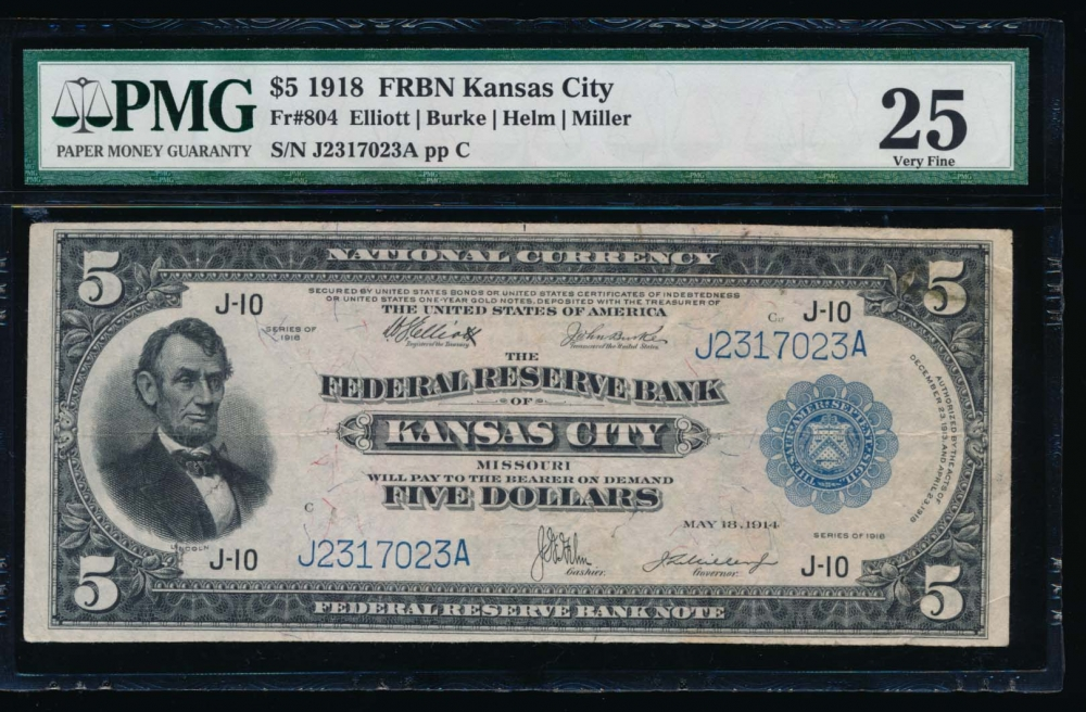 Fr. 804 1928 $5  FRBN Kansas City PMG 25 comment J2317023A