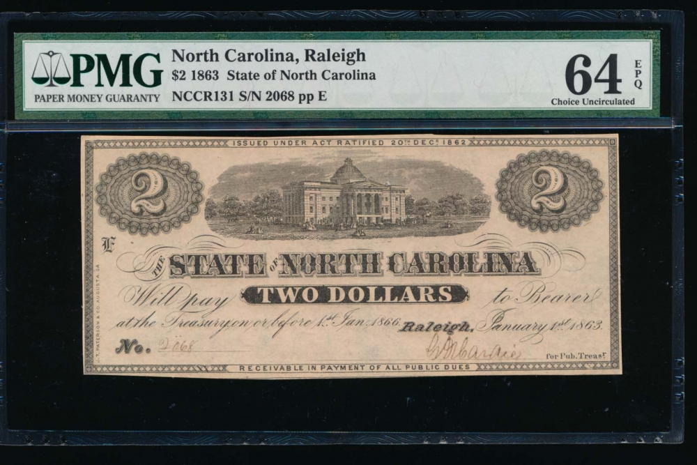 Fr. Cr NC-131 1863 $2  Obsolete State of North Carolina, Raleigh PMG 64EPQ 2068E