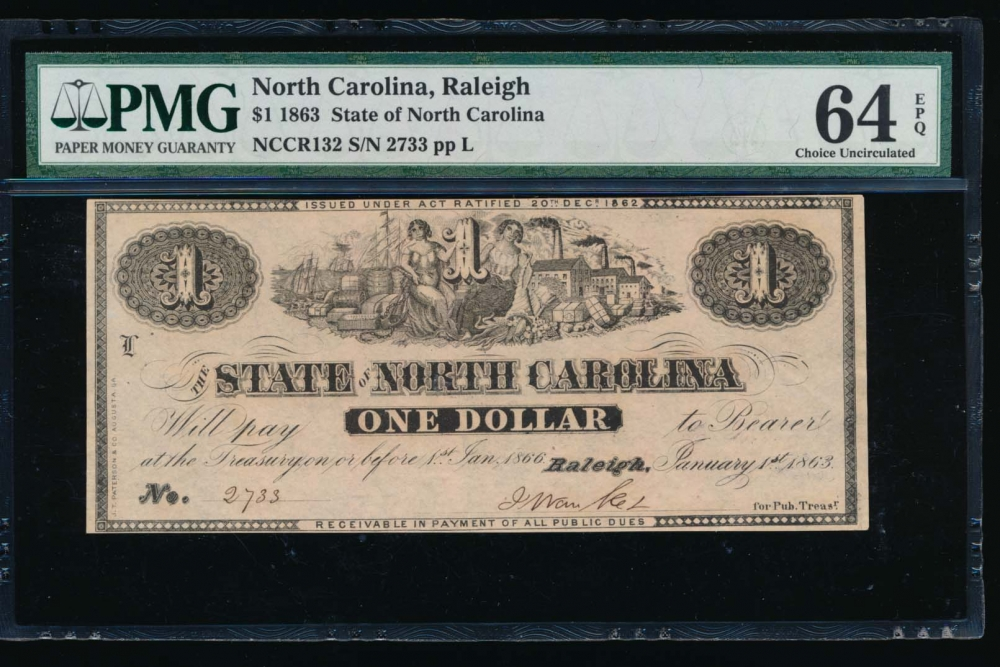 Fr. Cr NC-132 1863 $1  Obsolete State of North Carolina, Raleigh PMG 64EPQ 2733 L